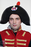 Man in uniform the Napoleonic soldier — Stock Photo