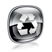 Recycling symbol icon black glass, isolated on white background. — Stock Photo