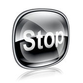 Stop icon black glass, isolated on white background — Stock Photo