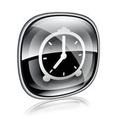 Clock icon black glass, isolated on white background — Stok fotoğraf