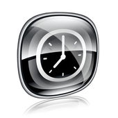 Clock icon black glass, isolated on white background — Stock Photo
