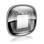 Notebook icon black glass, isolated on white background. — Stock Photo