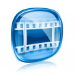 Royalty-Free Stock Photo: Film icon blue glass, isolated on white background.