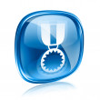 Medal icon blue glass, isolated on white background. — Lizenzfreies Foto
