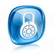 Lock off, icon blue glass, isolated on white background. — Photo