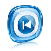 Rewind Back icon blue glass, isolated on white background. — Stock Photo