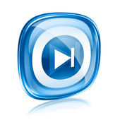 Rewind Forward icon blue glass, isolated on white background. — Stock Photo