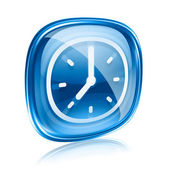 Clock icon blue glass, isolated on white background — Photo