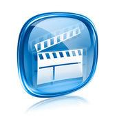 映画カチンコ アイコン青いガラスには、白い背景で隔離. — ストック写真