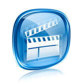 Movie clapperboard icon blue glass, isolated on white background — Stockfoto