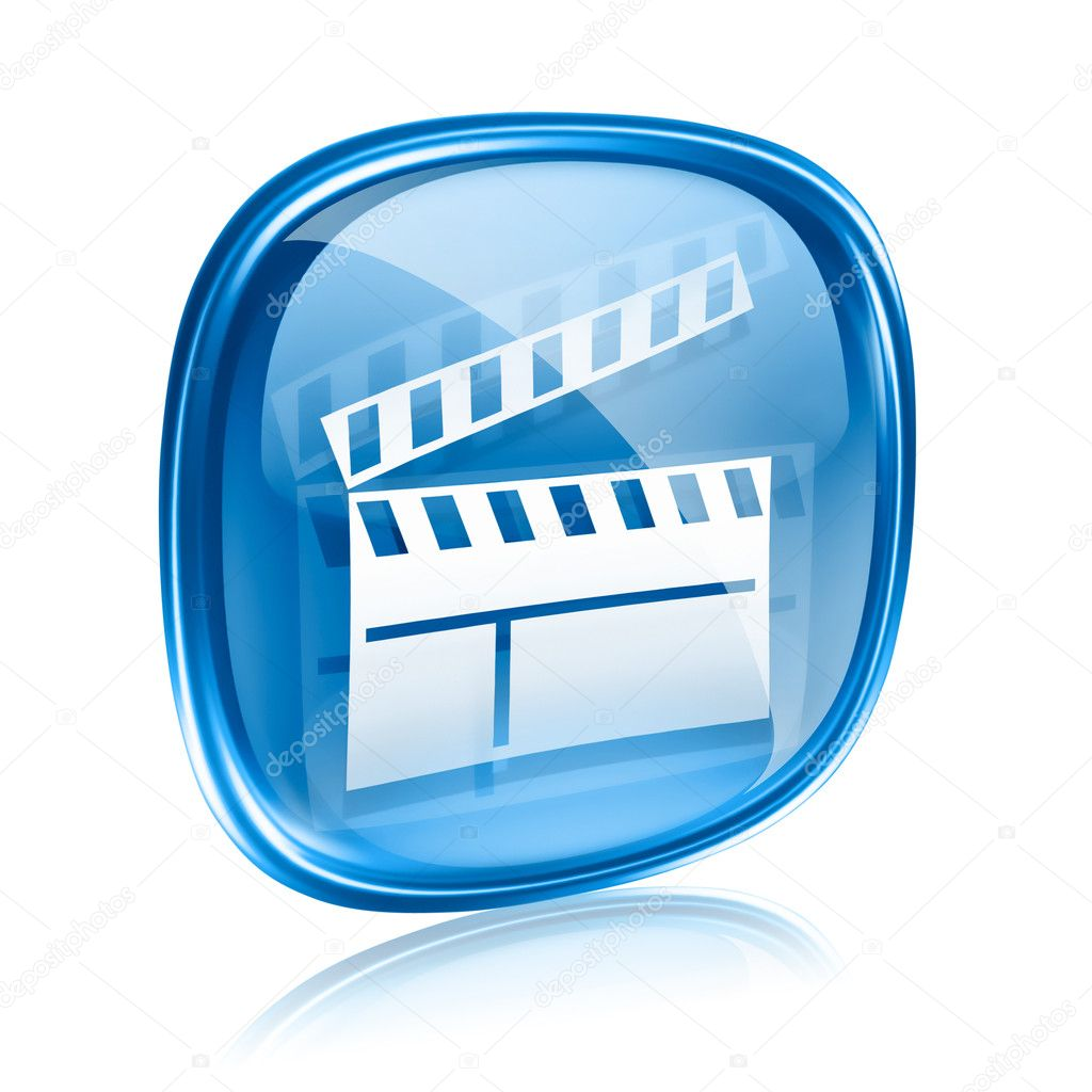 Movie clapperboard icon blue glass, isolated on white background. — Stock Photo #8023413