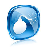 Bomb icon blue glass, isolated on white background. — Stock Photo