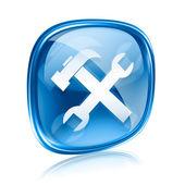 Narzędzia ikonę niebieskiego szkła, na białym tle. — Zdjęcie stockowe