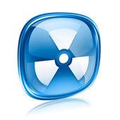 Radioactive icon blue glass, isolated on white background. — Stock Photo