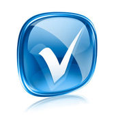 Sprawdź ikonę niebieskiego szkła, na białym tle. — Zdjęcie stockowe