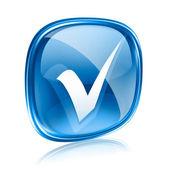Vérifier le verre de l'icône bleu, isolé sur fond blanc. — Photo