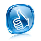 Thumb up icon blue glass, approval Hand Gesture, isolated on whi — Foto de Stock