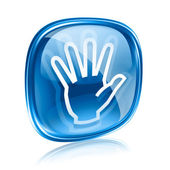 Hand icon blue glass, isolated on white background. — Stock Photo
