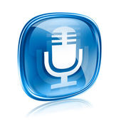 Microphone icon blue, isolated on white background — Stock Photo
