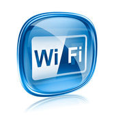 WI-FI icon blue glass, isolated on white background — Stock Photo