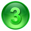 Number three icon  green, isolated on white background. — Stock Photo