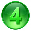 Number Four icon green, isolated on white background. — Stock Photo
