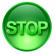 Stop icon green, isolated on white background. — Stockfoto