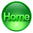 Home icon green, isolated on white background. — Stock Photo