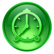 Stok fotoğraf: Clock icon green, isolated on white background