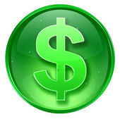 Dollar icon green, isolated on white background. — Stock Photo