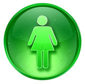 Woman icon green, isolated on white background. — Stock Photo