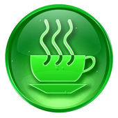 Coffee cup icon green, isolated on white background. — Stock Photo
