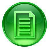 文档图标绿色,在白色背景上孤立 — 图库照片