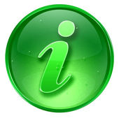 Information icon green, isolated on white background. — Stock Photo