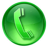 Phone icon green, isolated on white background. — 图库照片