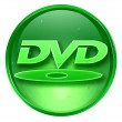 DVD icon green, isolated on white background. — Stock Photo
