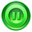 Pause icon green, isolated on white background. — 图库照片