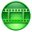Film icon green, isolated on white background. — Stockfoto