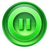 Pausar o ícone verde, isolado no fundo branco. — Foto Stock