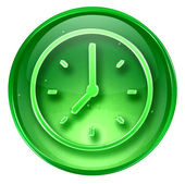 Clock icon green, isolated on white background — 图库照片