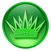 Crown icon green, isolated on white background. — Stock Photo
