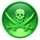 Pirate icon green, isolated on white background. — Stock Photo