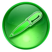 Pen icon green, isolated on white background. — Stock Photo