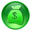 Stock Photo: Dollar icon green, isolated on white background.