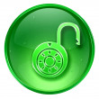 Lock on, icon green, isolated on white background. — Stock Photo