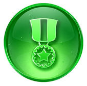 Medal icon green, isolated on white background. — Stock Photo
