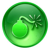 Bomb icon green, isolated on white background. — Stock Photo