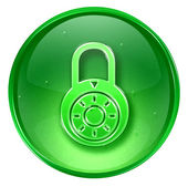 Lock off, icon green, isolated on white background. — Stock Photo