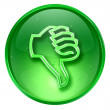 Thumb down icon green, isolated on white background. — Stock Photo