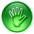 Hand icon green, isolated on white background. — Stock Photo
